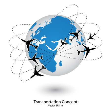Concept of Airplane, Air Craft Shipping Around the World for Transportation Concept Vector