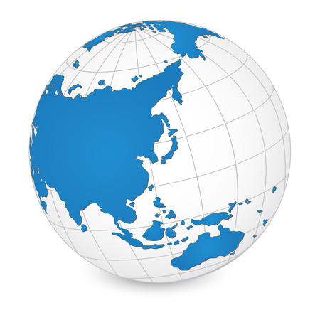 east asia: World Map and Globe Detail Vector Illustration Illustration