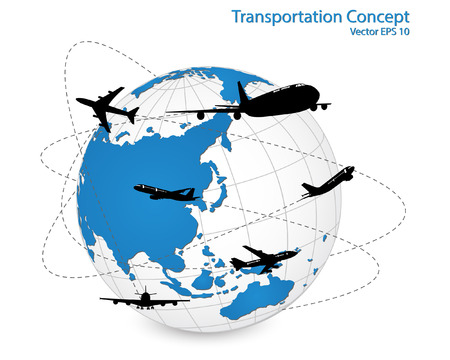 Concept of Airplane, Air Craft Shipping Around the World for Transportation Concept