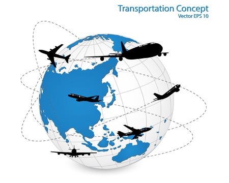 Concept van Airplane, Air Craft Verzending Around the World voor Vervoer Concept