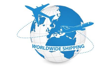 Vliegtuig, Air Craft Verzending Around the World voor Wereldwijde verzending Concept, Vector illustratie eps 10