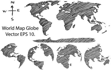 Earth Globe mit Weltkarte Detaillierte Vektor Linie Skizziert Up Illustrator-, EPS 10