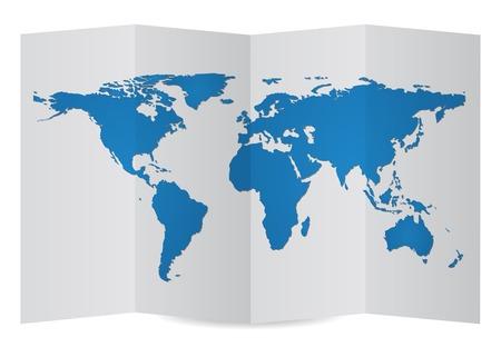 World Map Globe on Folder Paper, Vector Illustration EPS 10