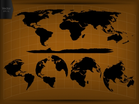 World Map and Globe Vector Illustration, EPS 10  Vector