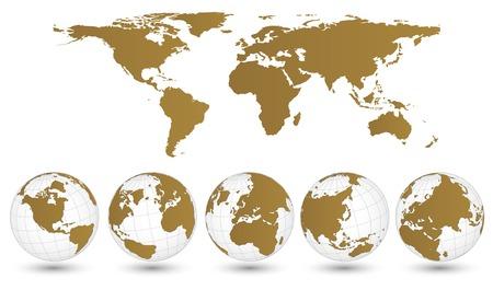 전세계에: 세계지도와 글로브의 세부 벡터 일러스트 레이 터 EPS 10,