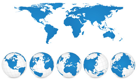 World Map and Globe Detail Vector Illustration, EPS 10 Stok Fotoğraf - 23963646