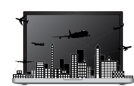 Airplane Travel Around the World on the Laptop Computer for Transportation Concept Vector Illustration, EPS 10  Vector