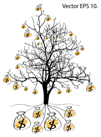 Save Money with Dead Tree without Leaves Vector Illustration Sketched, EPS 10  Vector