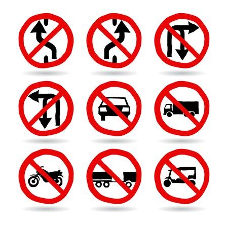 Doodle Traffic Signs, Vector Illustration EPS 10  Vector