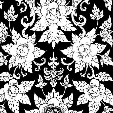 thai style: Thai Art Wall Pattern Style Vector, EPS 10