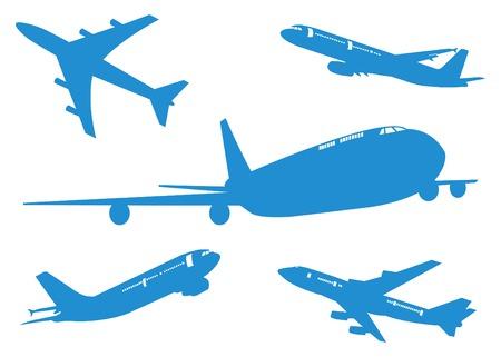 Vliegtuigen Set van Vliegtuig, silhouetten Vector illustratie, EPS 10 Stock Illustratie