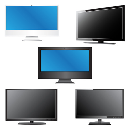 Set of LCD   LED TV Vector Illustration, EPS 10  Vector