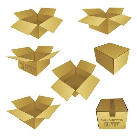 Set van Box papier vector illustratie EPS 10 Stock Illustratie