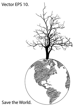 Dead Tree Stand Alone on Earth Globe for Save the World concept Vector Illustration sketched, EPS 10  Vector