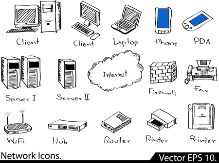 sketched icons: LAN Network Icons Vector Illustrator bosquejada, EPS 10 Vectores