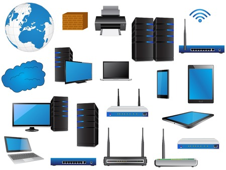LAN Network Diagram icons Vector Illustrator , EPS 10  for Business and Technology Concept  Ilustração