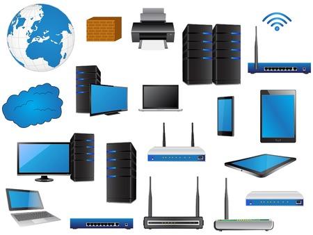 LAN-Netzwerkdiagramm-Symbole Vektor-Illustrator-, EPS 10 für Business und Technologie-Konzept Illustration