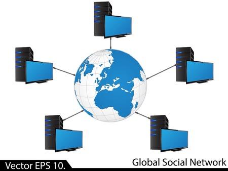 lan: LAN Network Diagram Illustrator for Business and Technology Concept  Illustration