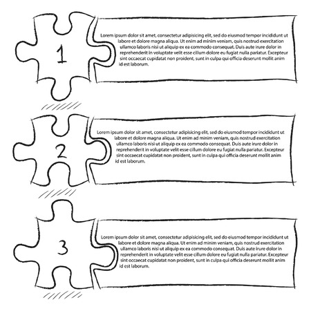 One Two Three, Progress Jigsaw Puzzle Icons Banner Infographic Sketched Up Outline, Vector Illustration EPS 10  Vector