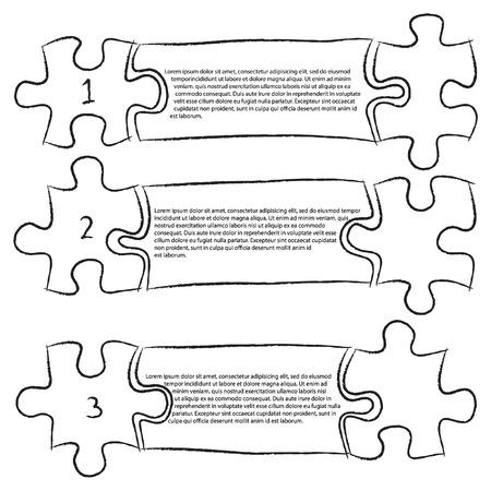 sketched icons: Uno Dos Tres, Progreso Jigsaw Puzzle iconos Banner Infograf�a bosquejada arriba Contorno, Ilustraci�n Vector EPS 10 Vectores