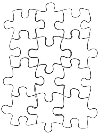 Jigsaw Puzzle IconsSketched Up Outline, Vector Illustration EPS 10