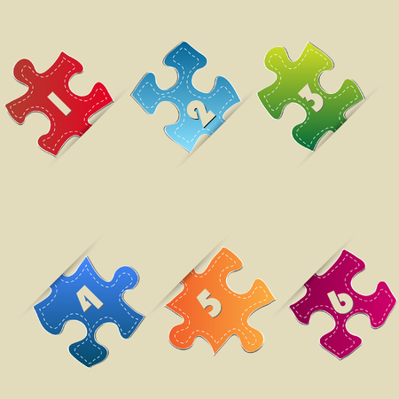 Colorful Modern Template Design Banner with Jigsaw Puzzle, Vector Illustration EPS 10  Vector