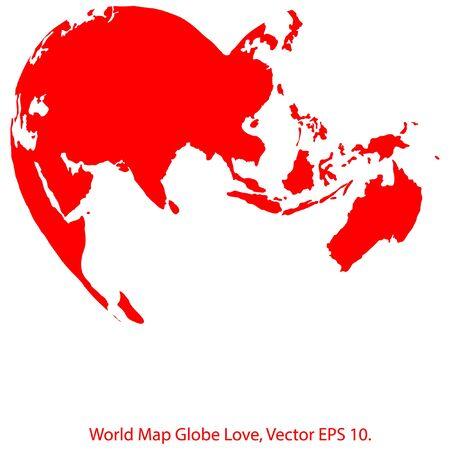 eps 10: Heart World Map Globe Vector Illustrator, EPS 10. Illustration