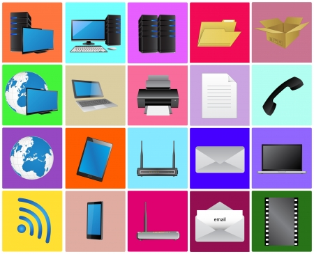 Computer Technology Icon Set, Technology and Business Concept, Vector Illustration EPS 10. Vector