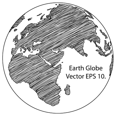 south east asia: World Map Earth Globe Vector line Sketched Up Illustrator Illustration