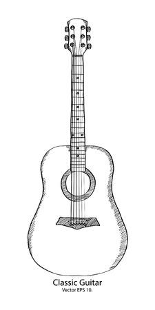 Doodle Classic Guitar Vector Illustratie Stock Illustratie