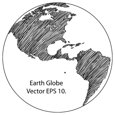 sketched: World Map Earth Globe Vector line Sketched Up Illustrator Illustration
