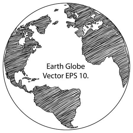 Weltkarte Earth Globe Vector Linie Skizziert Bis Illustrator, EPS-10