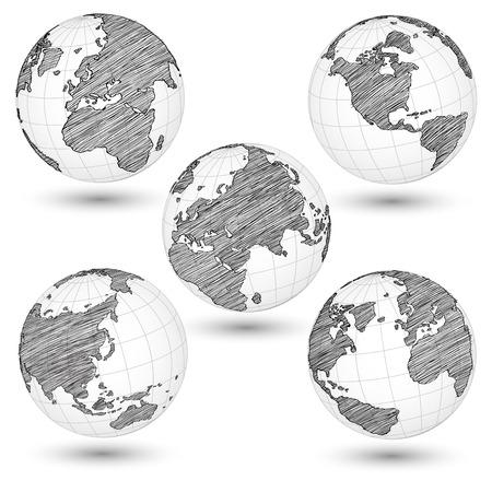 Set van World Map Earth Globe Vector lijn geschetste Up Illustrator Stock Illustratie