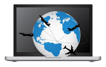 Airplane Travel Around the World on the Laptop Computer Vector Illustration, EPS 10  Vector