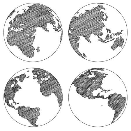 Globe Vector Line Sketched Up Illustrator Фото со стока - 24381907