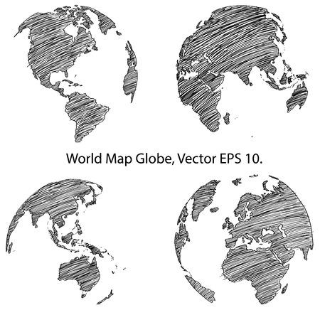 geografia: Globo de la tierra con el mapa del mundo Detalle Vector Línea bosquejada arriba Illustrator