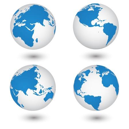 globe vector: World Map and Globe Detail Vector Illustration, EPS 10