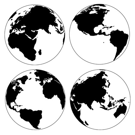 asia pacific map: World Map and Globe Detail Vector Illustration Illustration