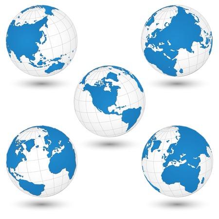 World Map en Globe Detail Vector Illustration, EPS-10 Stock Illustratie