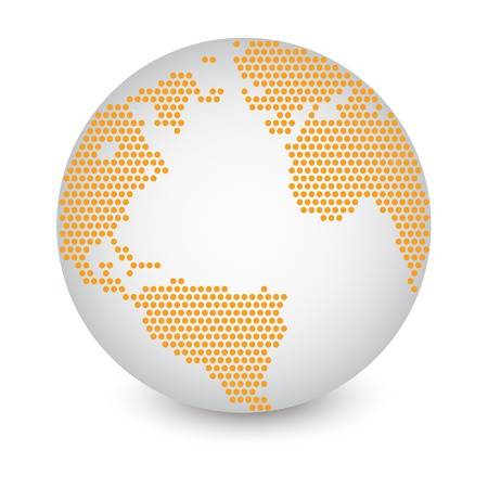 eps 10: Dotted World Map Globe Made of Circle Shapes  Vector Illustration EPS 10