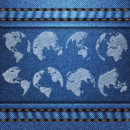 Vector of World Map Globe on the Blue Denim Texture Background, EPS 10  Vector