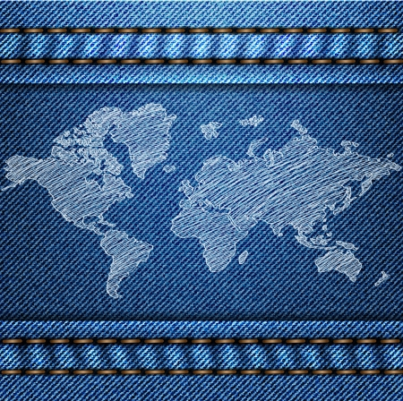 garment label: World Map Globe on the Blue Denim Texture