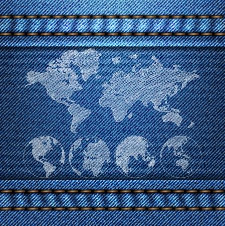 World Map Globe on the Blue Denim Texture Vector