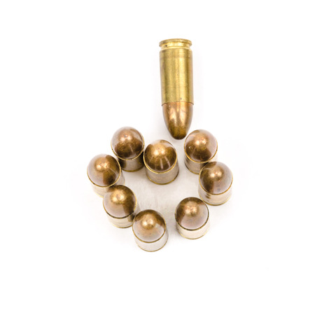 semi automatic: Golden Bullets isolated on the white