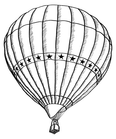 Doodle of Hot Air Balloon Vector Sketch Up line, EPS 10  Vector