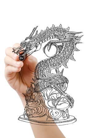 Hand drawing chinese style dragon statue line sketch up.