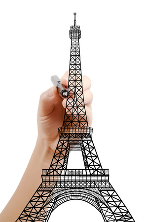 Hand drawing Eiffel Tower line  in Paris for construction. Stock Photo