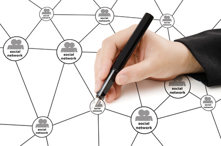 Hand Writing social network Diagram. photo