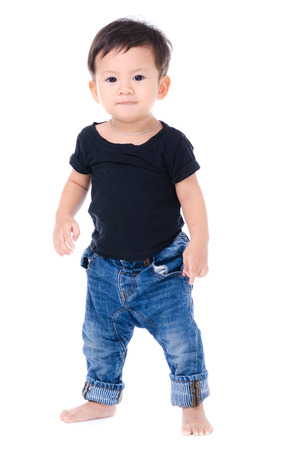 one year old: Cute Little Boy Isolated on the White Background. Stock Photo