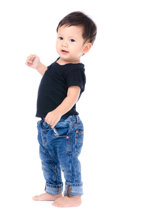 Cute Little Boy Isolated on the White Background. 스톡 콘텐츠